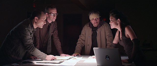 "(L-R) Sean San Jose, Christopher White, Richard Montoya and Pearl Wong in a scene from ""The Other Barrio"".  Photo Courtesy of SF Noir Films"