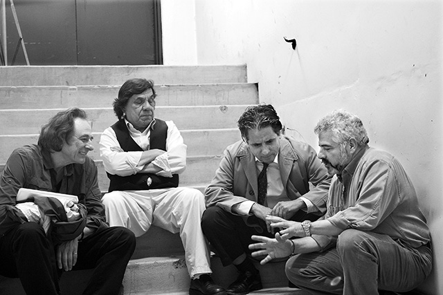 "(L-R) Producer Lou Dematteis, Production Designer Rene Yanez, Lead Actor Richard Montoya and Producer/Director Dante Betteo on the set of ""The Other Barrio"" at San Francisco General Hospital. Photo by Mario Ayala/Imagine Photo"