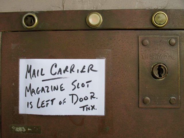 Postman's note Photo by Kathleen Narruhn