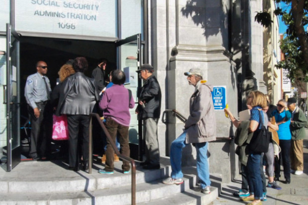 At 9 a.m., some 30 people filed into the Social Security Administration building on Valencia.
