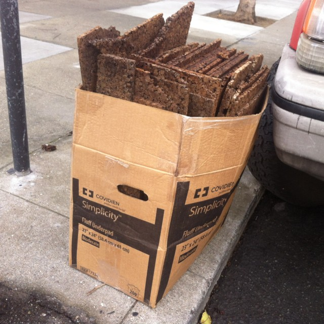 A box with cork inside. Soaking up the moisture. On Florida and 21st.
