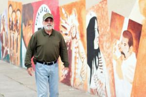 WAlking the neighborhood with John Nuno.  Photo by Daniel Mondragon