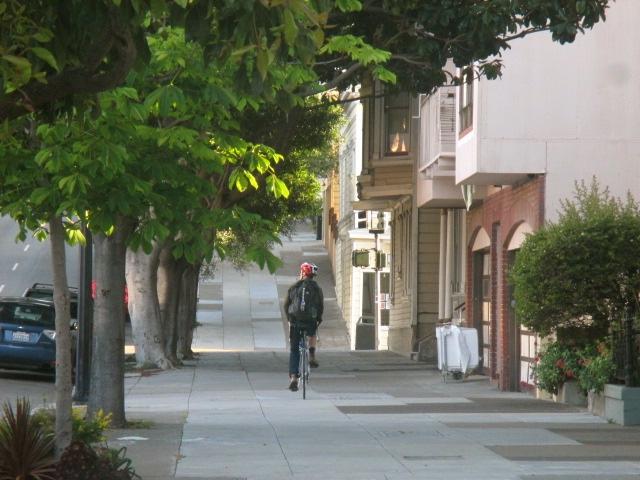 Biking on the sidewalk Photo by Kathleen Narruhn
