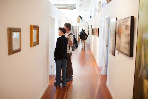 Visitors at Open Studios in Studio 17's space. Photo courtesy of Studio 17.