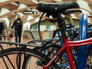 "The bicycle rack inside 16th Street BART station, full in April. A BART police officer said securing a bicycle with only a cable lock ""is like not locking the bike at all."""