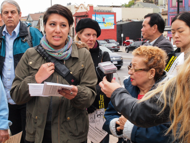 Maria Zamudio of Causa Justa translates Doña Margarita's eviction story from Cesar Chavez Street.