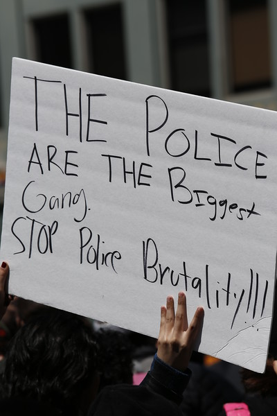 Sign at police brutality protest. Photo by Brock Hanson.