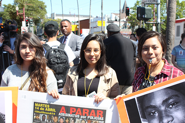 From left to right, San Francisco State students Alejandra Diaz, Nadine Cozano and Jasmin Vega join the protest. Photo by Laura Wenus