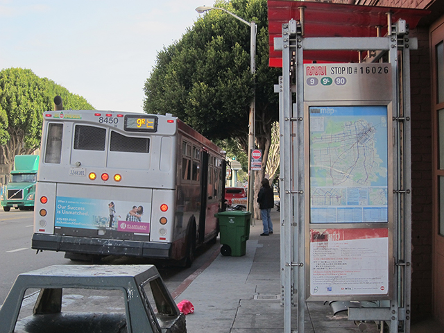 One of several MUNI lines in the vicinity. What's the 90?Photo by Lily Liang
