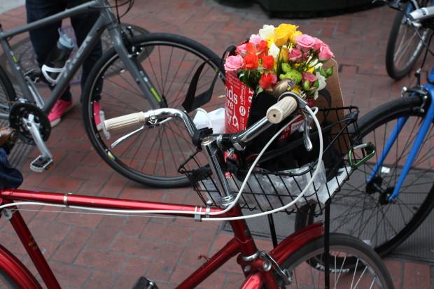 bike memorial flowers