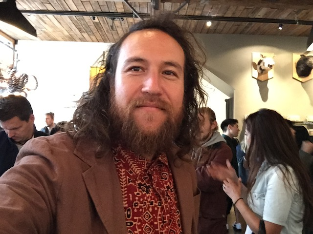 Russ takes a selfie (by request) at his  book signing at Ritual Roast Coffee. Photo by Kevin Russ.