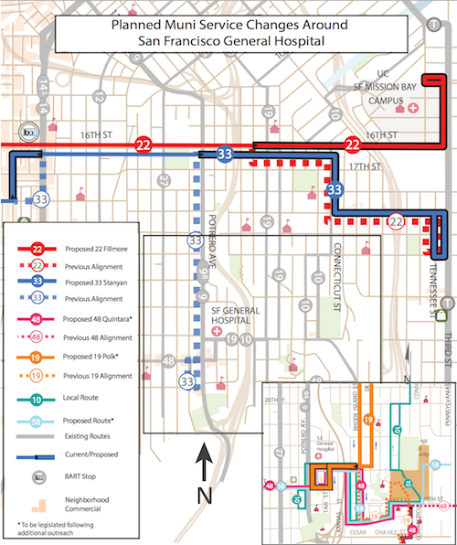 Proposed service changes to buses serving San Francisco General Hospital. Map courtesy of  SFMTA.