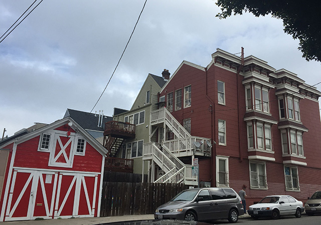 I had to cross the street to get all of this in.  A Barn and lovely stairs on 25th Street. Photo by Lydia Chávez