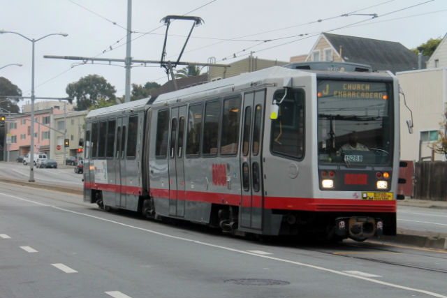 The J-Church train skirts the Mission for just a couple blocks on its way downtown.  Photo by Anita O'Brien.