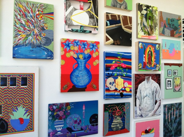 Some of the artwork by the more than 80 artists currently on display at Park Life. Photo by Joe Rivano Barros.