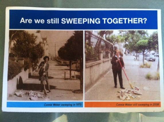 Connie Ramirez Weber still fighting the good fight in a DPW street sweeping campaign back in 2008. The first photo, of the same spot, was taken in 1975. Photo by Joe Rivano Barros.