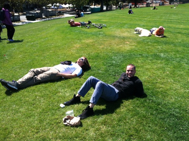 Payton Curry and Tyler Burke, visiting from Scottsdale for the weekend, relax in Dolores Park and await what's sure to be a special Pride celebration. Photo by Joe Rivano Barros.