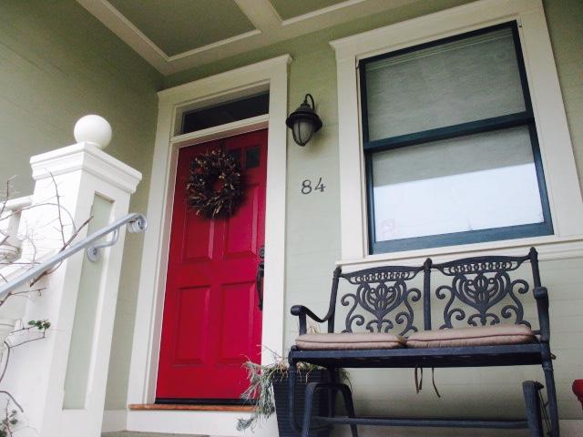 Red Door & Bench Photo by Kathleen Narruhn