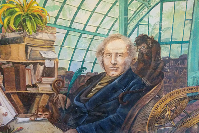 An enormous painting of Sir Joseph Paxton hangs in the new offices. Photo by Laura Wenus