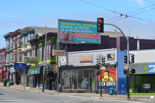 """A billboard on Mission and Valencia streets advertising an """"abortion pill reversal ."""" It was paid for by an antiabortion group. Photo by Christiano Valli."""
