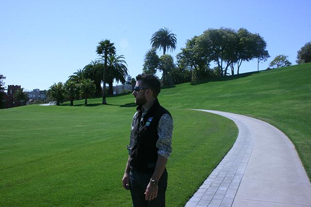 Dolores Park renovation project lead Jacob Gilchrist leads the tour.