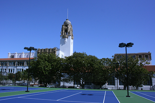 The brand new tennis courts in all their colorful vibrance.