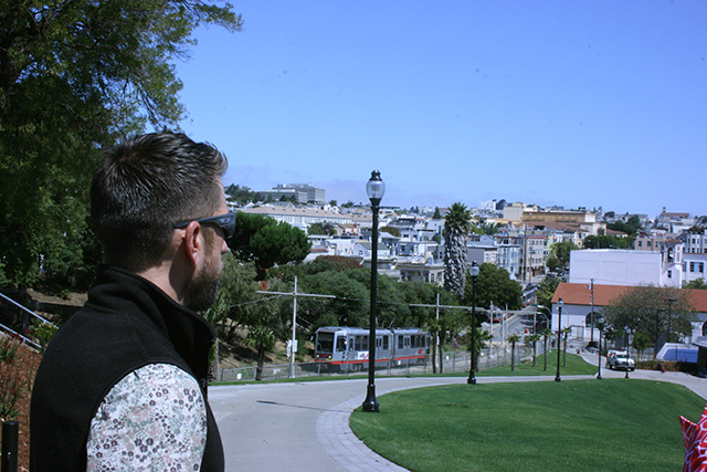 Dolores Park Project Manager Jacob Gilchrist enjoying the view from the top of the promenade
