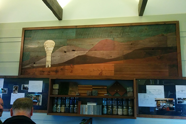 The wood art that hangs in the new RareField offices. Handmade of course. Photo by Laura Wenus