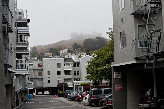 Bernal Hill through the fog. Photo by Adam Long.
