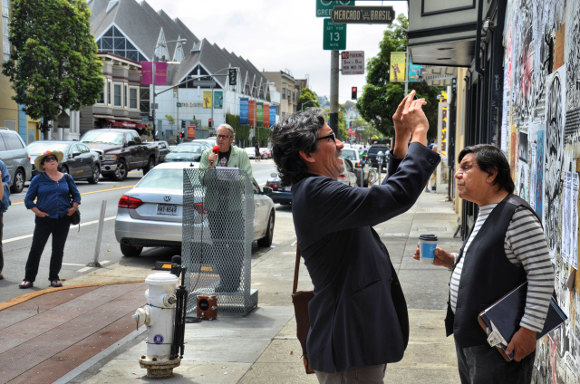 René Yañez, right, at the recent opening of the Valencia Street Art Wall. Photo by Cristiano Valli