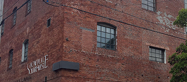 The texture in the buildings and brick is the second most interesting thing about this block. Photo by Lydia Chávez