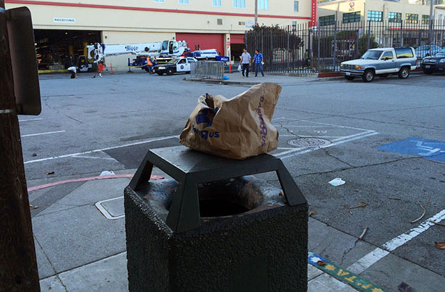 Why they took away the trash cans. Photo by Mark Rabine.