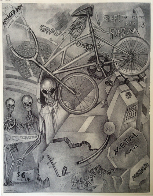 Poster for a bike messenger party.