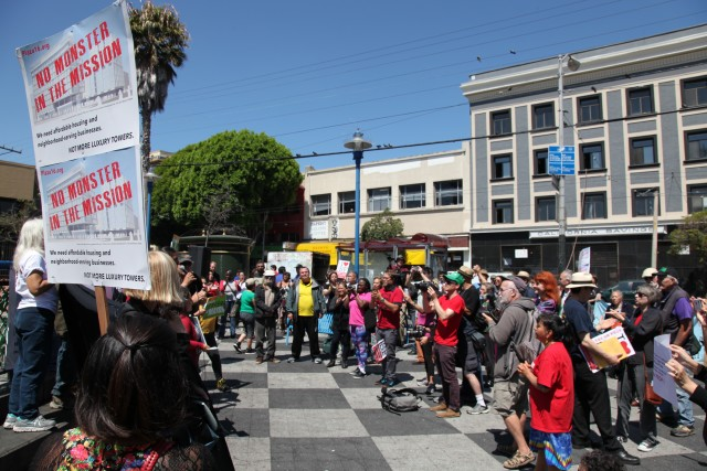 "The crowd at the 16th St. BART Plaza in support of affordable housing at the so-called ""Monster in the Mission."" Photo by Joe Rivano Barros."