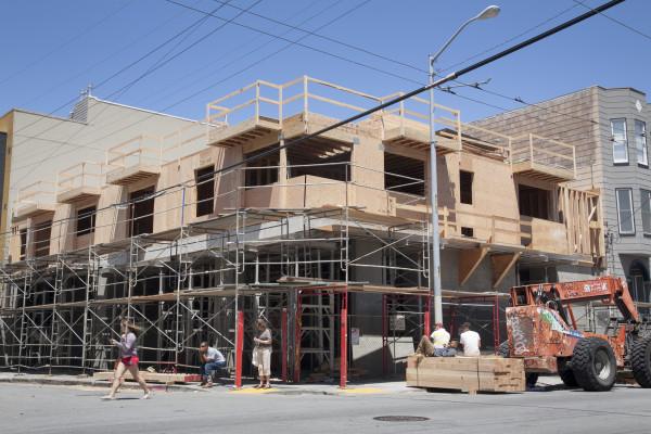 The new condominium being built at 18th and San Carlos Friday July 24th, 2015. Photo by Martin Bustamante