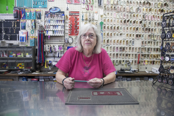 Katy Lawson, owner of ABC Locksmith, in her shop on 18th street in the Mission Wednesday August 13, 2015. Photo by Martin Bustamante