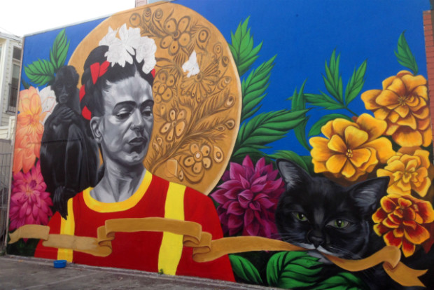 New mural by Elaine Chu and Marina Perez-Wong in progress on 25th Street and Orange Alley.