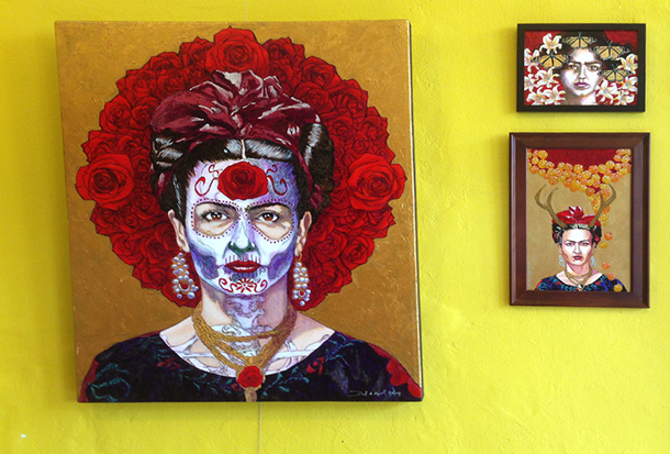 Paintings lent to Frida's Closet by local artists.