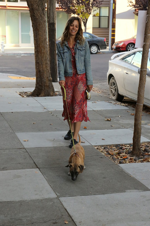 Ekin Kalayci begins her day by walking Ruby, who obliges strangers by offering her belly for a rub. Photo by Janet Kornblum