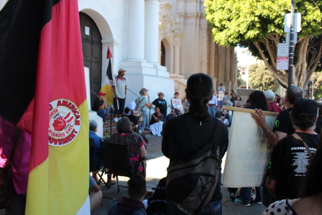 Members of the American Indian Movement were present along with others to protest the canonization of Junipero Serra. Photo by Joe Rivano Barros.
