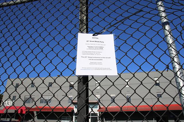 Block party notices. Photo by Janet Kornblum