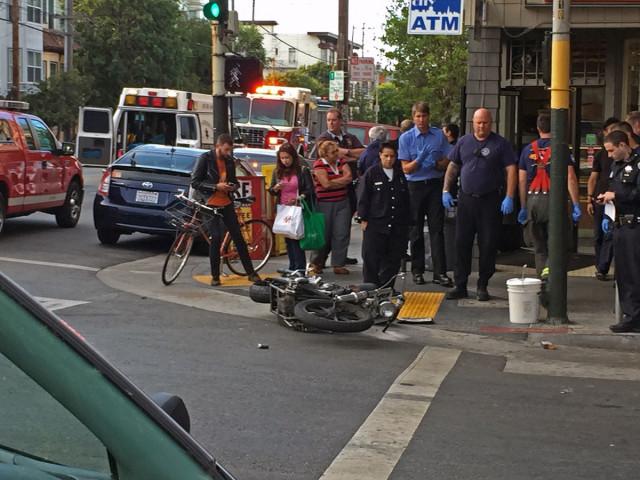 Motorcycle, Car Crash on South Van Ness