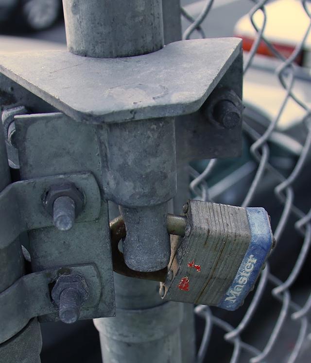 Locking the gate. Photo by Janet Kornblum