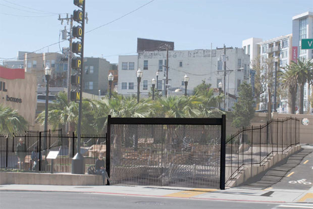 Rendering of one option for fencing McCoppin Hub Plaza. The fence's final design has not yet been finalized. Image courtesy of San Francisco Public Works