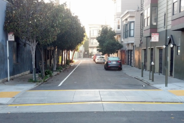 A newly installed raised crosswalk on Adair Street. Image courtesy of SFMTA