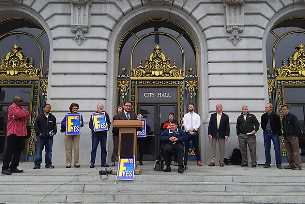 Proponents of Proposition F hold a press conference at City Hall before a hearing on short term rental enforcement.
