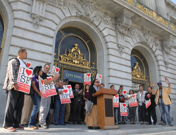 Supervisors, planning officials, and non-profit leaders came together to support the Mission moratorium on Wednesday. Photo by Joe Rivano Barros.