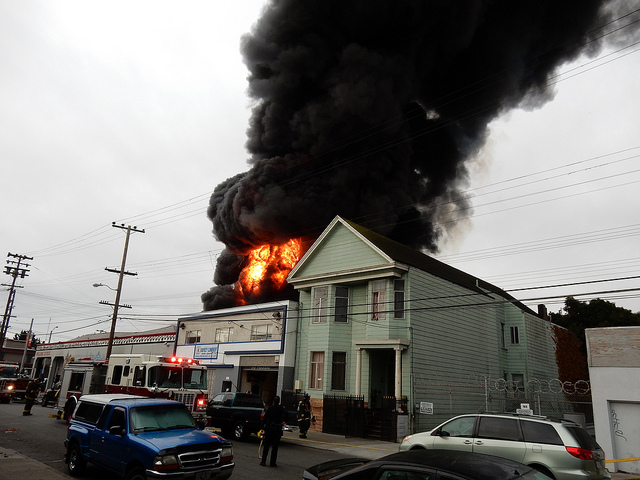 3-Alarm Fire in SF Mission Consumes Tire Shop, Plume of Smoke Visible Citywide