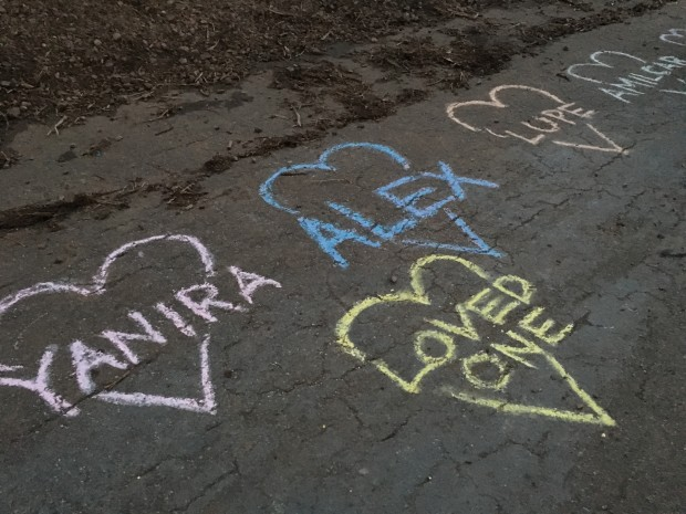 Chalk hearts commemorating those killed by police, at the memorial for Alex Nieto on Bernal Hill.