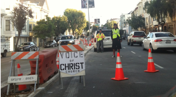 Church parking on Guerrero Street  between 18th and 19th in September 2014. Photo by Elizabeth Zitrin